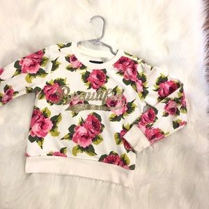 Childrens Place Girls Floral Sweatshirt Sparkly